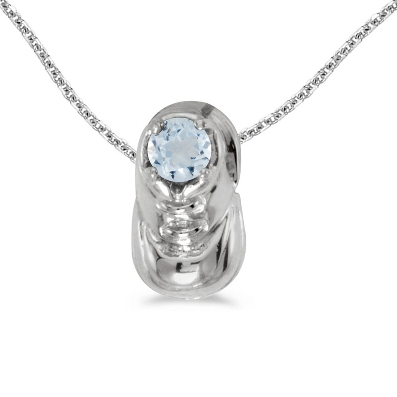 Color Merchants 14k White Gold Round Aquamarine Baby Bootie Pendant
