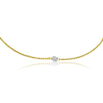 "14K Yellow Gold .25 Single Diamond By The Yard Necklace with 18"" Chain"