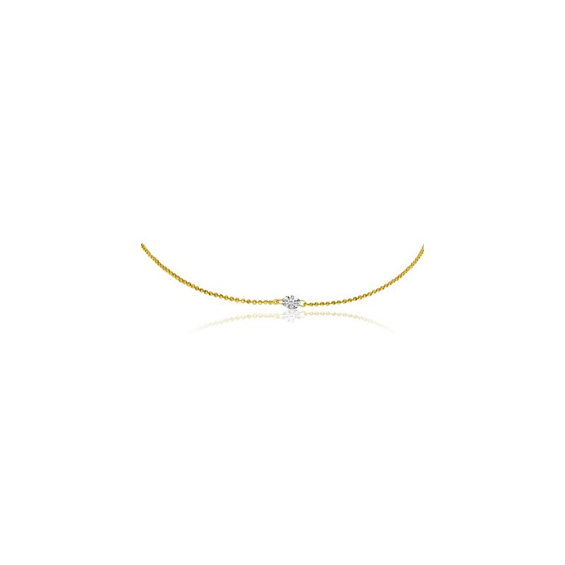 "Color Merchants 14K Yellow Gold .25 Single Diamond By The Yard Necklace with 18"" Chain"