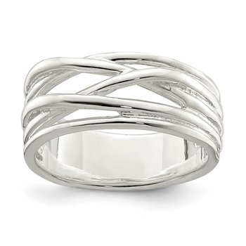Sterling Silver Polished 5 Band Intersecting Ring