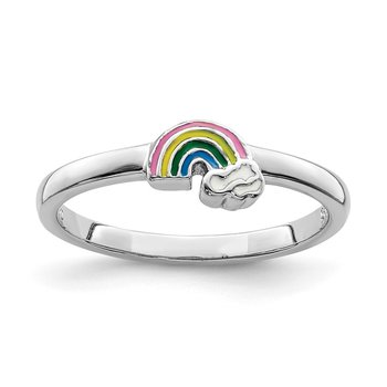 Sterling Silver Rhodium-plated Childs Enameled Rainbow Ring