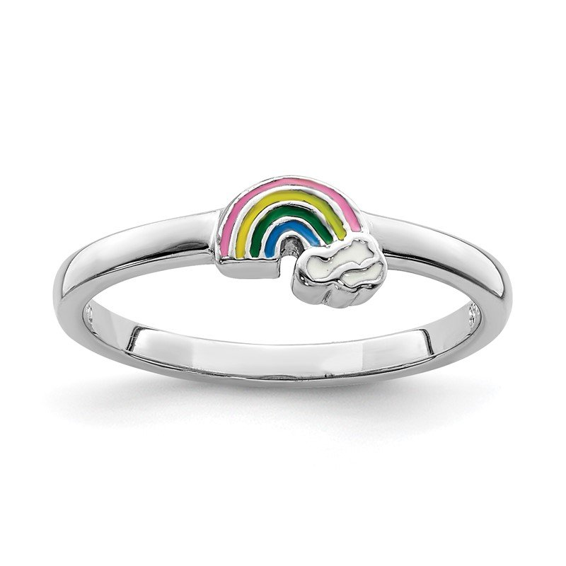 Quality Gold Sterling Silver Rhodium-plated Childs Enameled Rainbow Ring