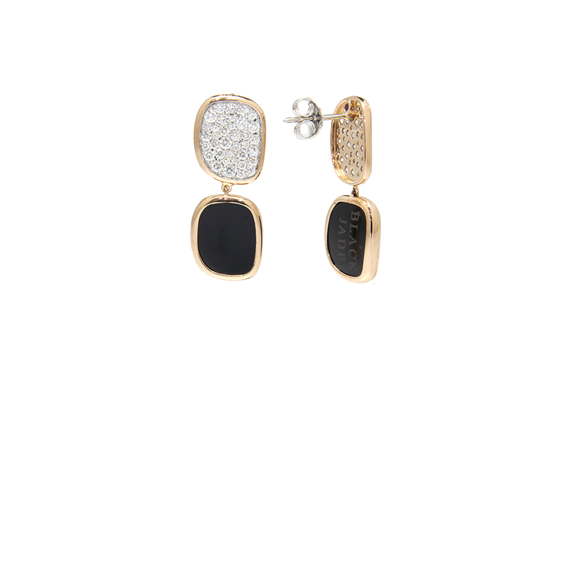 Roberto Coin  #25211 Of Earrings With Black Jade And Diamonds