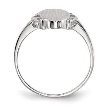 14k White Gold 14.5x7.0mm Open Back Signet Ring