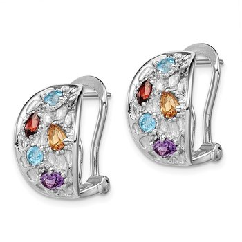 SS Rhodium-plated Amethyst/Blue Topaz/Garnet/Citrine Omega Back Earrings