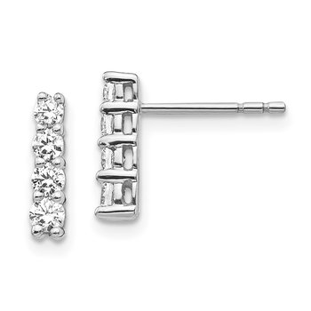 14k White Gold 4-stone Diamond Post Earrings