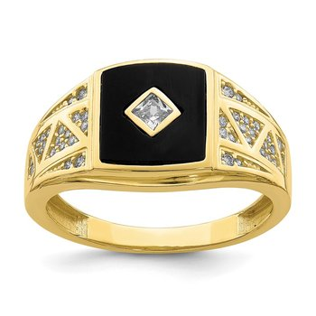 10K CZ and Onyx Men'S Ring
