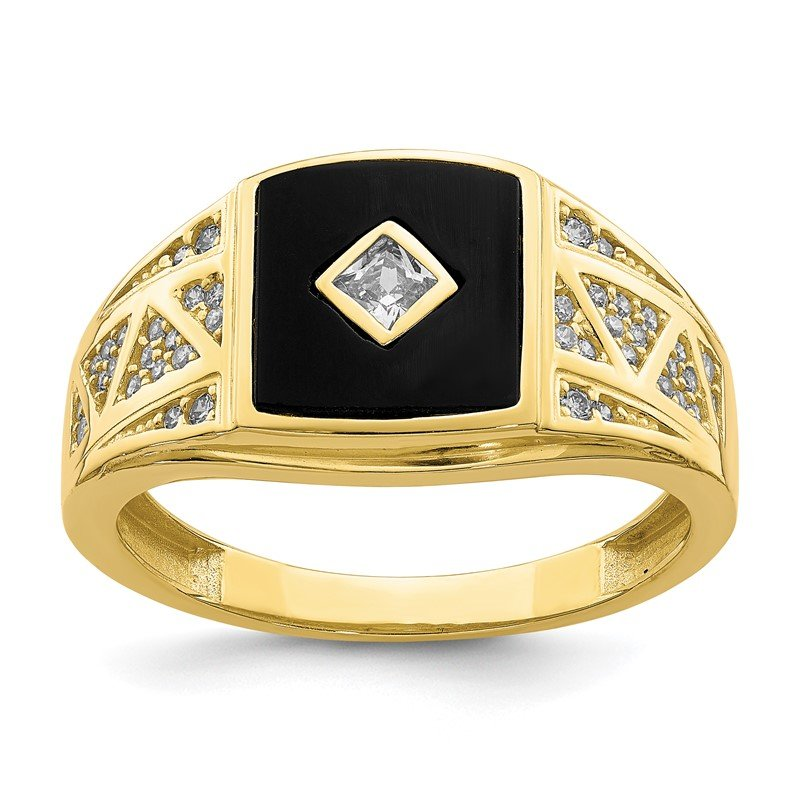Quality Gold 10K CZ and Onyx Men'S Ring
