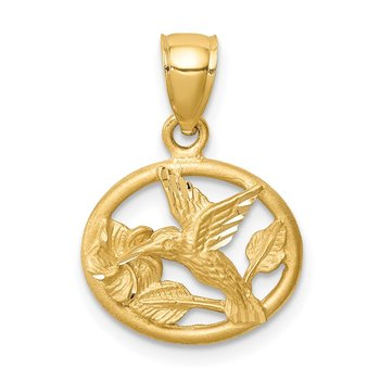 14K D/C Brushed Hummingbird Pendant