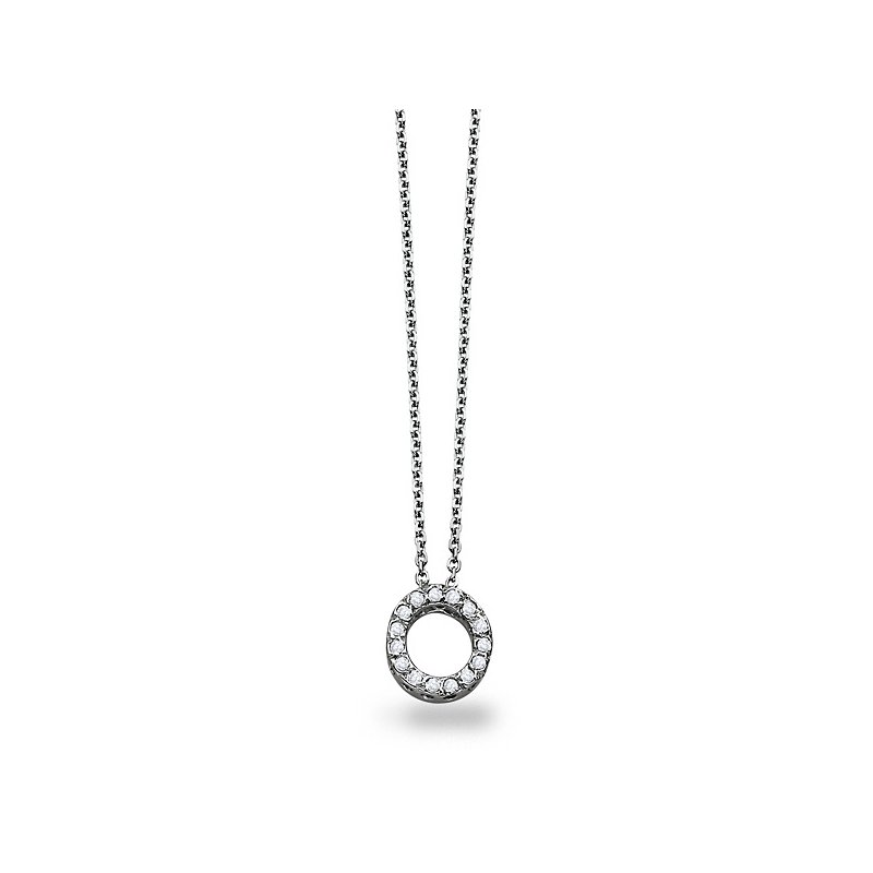 "KC Designs Diamond Block Initial ""O"" Necklace in 14k White Gold with 15 Diamonds weighing .11ct tw."