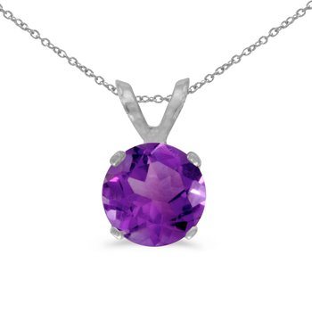 14k White Gold 6mm Round Amethyst Stud Pendant (.65 ct)