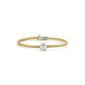Yellow Cable Essential Stackable Bracelet with Single Large Square Diamond station set in 18kt White Gold