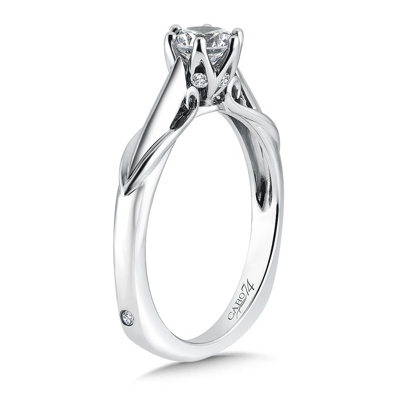 Caro74 Round Six-Prong Solitaire Engagement Ring in 14K White Gold with Platinum Head (5/8ct. tw.)