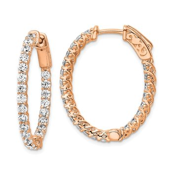 Sterling Silver Rose-tone CZ In & Out Oval Hoop Earrings