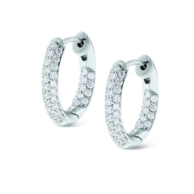 MAZZARESE Fashion Diamond Inside Outside Small Hoop Earrings in 14k White Gold with 88 Diamonds weighing .73ct tw.