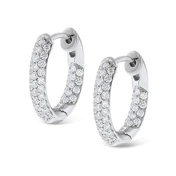 Everyday Diamonds by MAZZARESE Diamond Inside Outside Small Hoop Earrings in 14k White Gold with 88 Diamonds weighing .73ct tw.