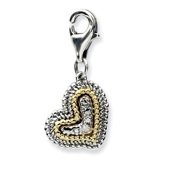 Sterling Silver w/14k Antiqued Diamond Heart w/Lobster Clasp Charm