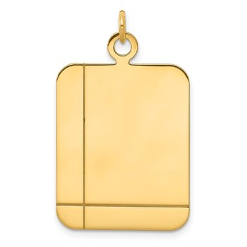 14k Plain Rectangular .027 Gauge Engravable Disc Charm