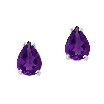 14k White Gold Pear Shaped Amythest Earrings
