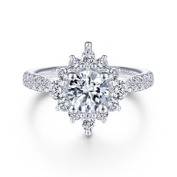 Unique 14K White Gold Halo Diamond Engagement Ring