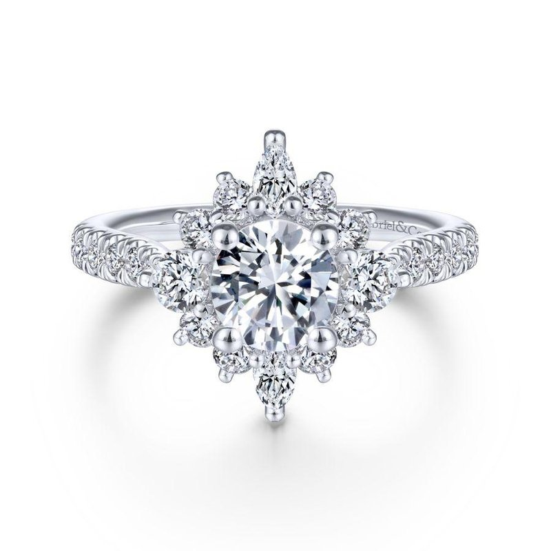 Gabriel & Co. New York Unique 14K White Gold Halo Diamond Engagement Ring