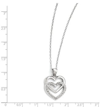Sterling Silver Diamond Mystique 18in Dangle Heart Necklace