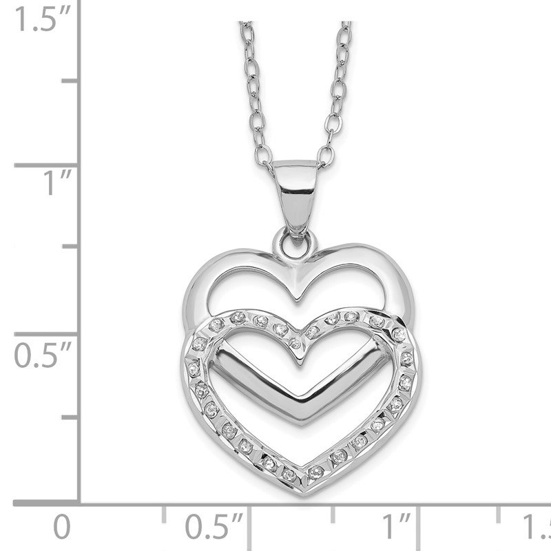 Quality Gold Sterling Silver Diamond Mystique 18in Dangle Heart Necklace
