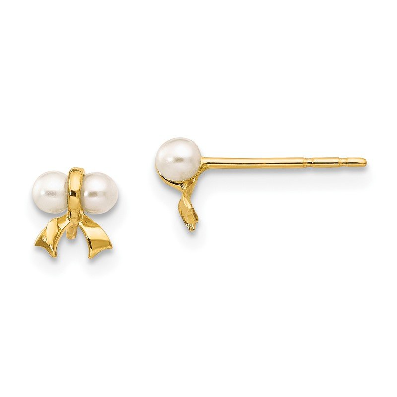 Quality Gold 14k Madi K White Button Freshwater Cultured Pearl Bow Post Earrings