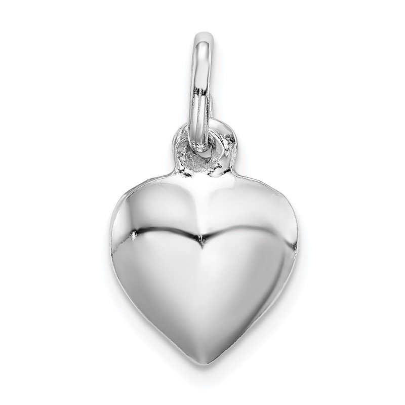 Quality Gold Sterling Silver Rhodium-plated Puffed Heart Charm