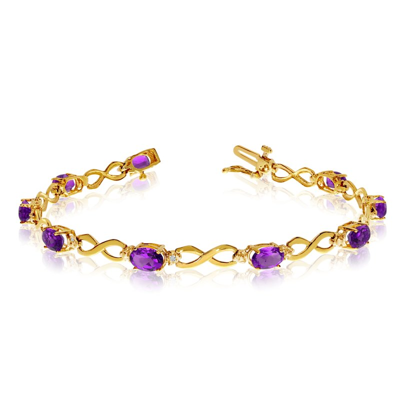 Color Merchants 14K Yellow Gold Oval Amethyst and Diamond Bracelet