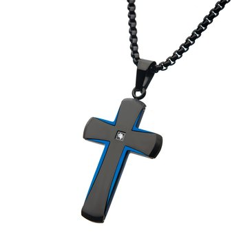 Steel Brushed Blue Plated and Black IP with Clear CZ Cross Pendant with Black Bold Box Chain