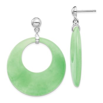 Sterling Silver Rhodium-plated Jade Circle Dangle Post Earrings