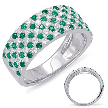 White Gold Green Garnet & Diamond Ring