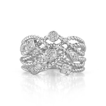 Sterling Silver and Diamond Cable Design Ring.
