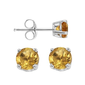 Four Prong Citrine Studs in 14K White Gold (5 MM)