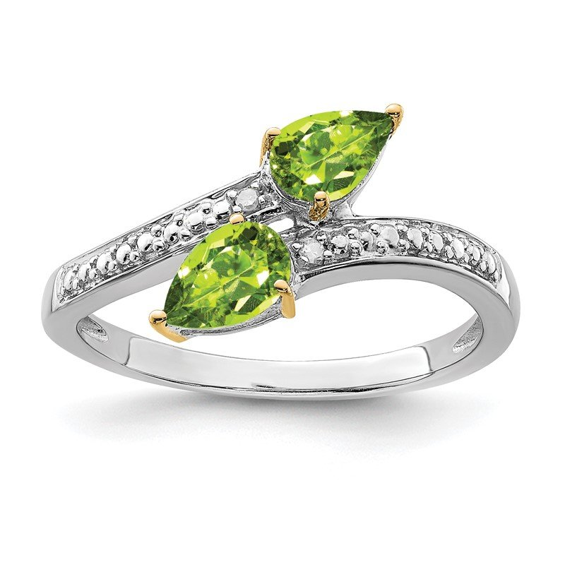 Quality Gold SS & 14k True Two-tone Peridot Diamond Ring