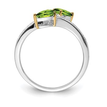 SS & 14k True Two-tone Peridot Diamond Ring