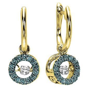 14K Blue & White Diamond Rhythm Of Love Earrings 1/4 ctw