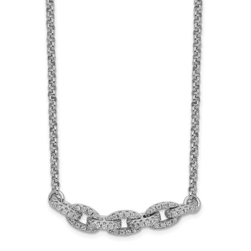 Quality Gold Sterling Silver Rhodium-plated CZ Oval Link w/2in Choker Necklace