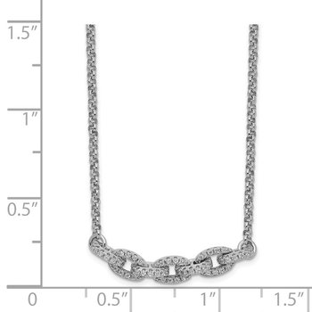 Sterling Silver Rhodium-plated CZ Oval Link w/2in Choker Necklace