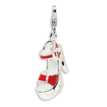 Sterling Silver Enameled Red Platform High Heel w/Lobster Clasp Charm