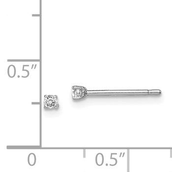 Sterling Silver Rhodium-plated Madi K 2mm Round CZ Stud Earrings