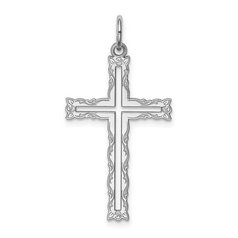 Sterling Silver Rhodium-plated Laser Designed Cross Pendant