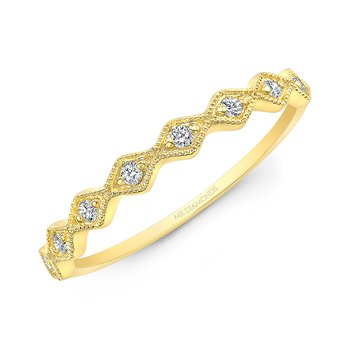 Yellow Gold Milgrain Diamond Shaped Stackable Band