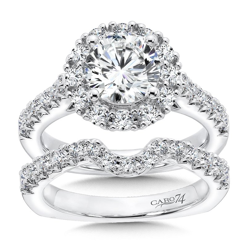 Caro74 Grand Opulance Collection Round Halo Engagement Ring in 14K White Gold (1-1/2ct. tw.)