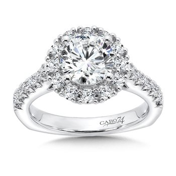 Grand Opulance Collection Round Halo Engagement Ring in 14K White Gold (1-1/2ct. tw.)