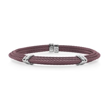 Burgundy Cable Tiered Bracelet with Dual Steel Stations
