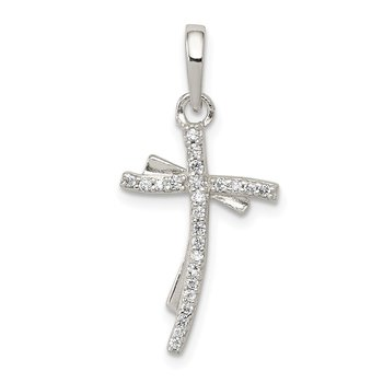 Sterling Silver Polished CZ Cross Pendant