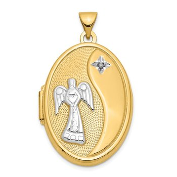 14k Guardian Angel w/Rhodium Diamond 26mm Oval Locket