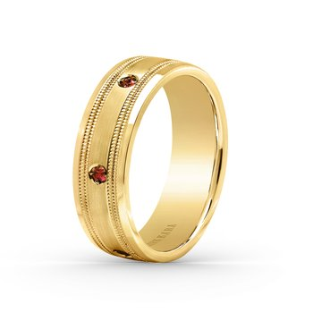 Ruby Milgrain Mens Wedding Band 7mm